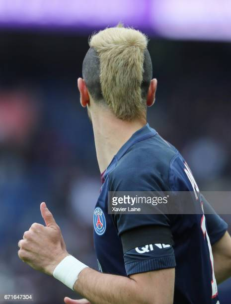 a detail of the new haircut of Javier Pastore of Paris SaintGermain during the French Ligue 1 match between Paris Saint Germain and Montpellier...