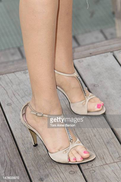 a detail view of Natacha Amal' s shoes before the Christophe Guillarme New Collection presentation at the Palais des Festivals on April 7 2012 in...