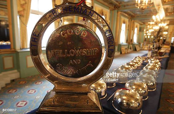 A a dinner gong and a set of 16 silver plated cloches are pictured available for auction at the Cafe Royal on Regent Street on December 22 2008 in...