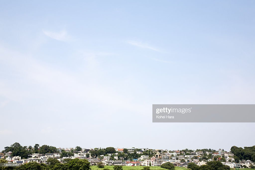 a distant view of the residential district : Stock Photo