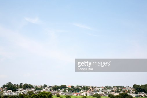 a distant view of the residential district : Stockfoto