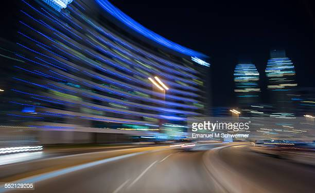 POV of a driving car during night in city