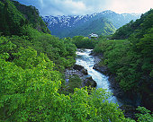 a Floating River, Surrounded By Rocks, Shrubbery and Mountains, High Angle View, Yamagata Prefecture, Japan