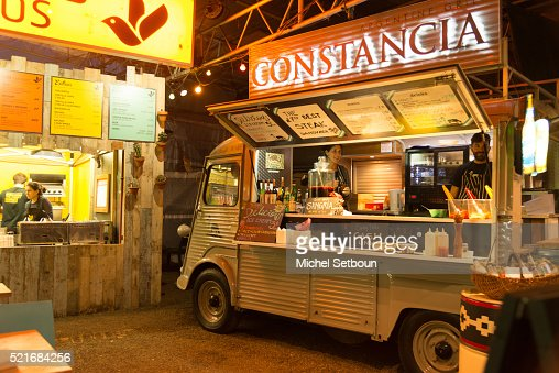 a former 2 chevaux citroen truck transformed in a food truck at night stock photo getty images. Black Bedroom Furniture Sets. Home Design Ideas