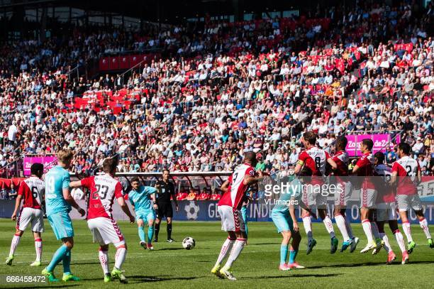 a free kick of Mateusz Klich of FC Twenteduring the Dutch Eredivisie match between FC Utrecht and FC Twente Enschede at the Galgenwaard Stadium on...