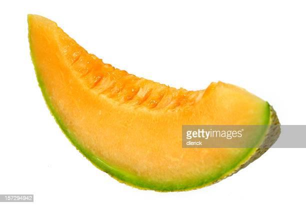 Frische Stück Warzenmelone auf weißem Hintergrund.