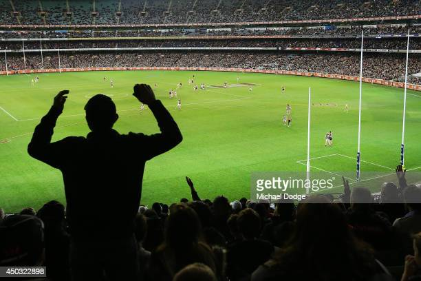 a general view is seen during the round 12 AFL match between the Melbourne Demons and the Collingwood Magpies at Melbourne Cricket Ground on June 9...