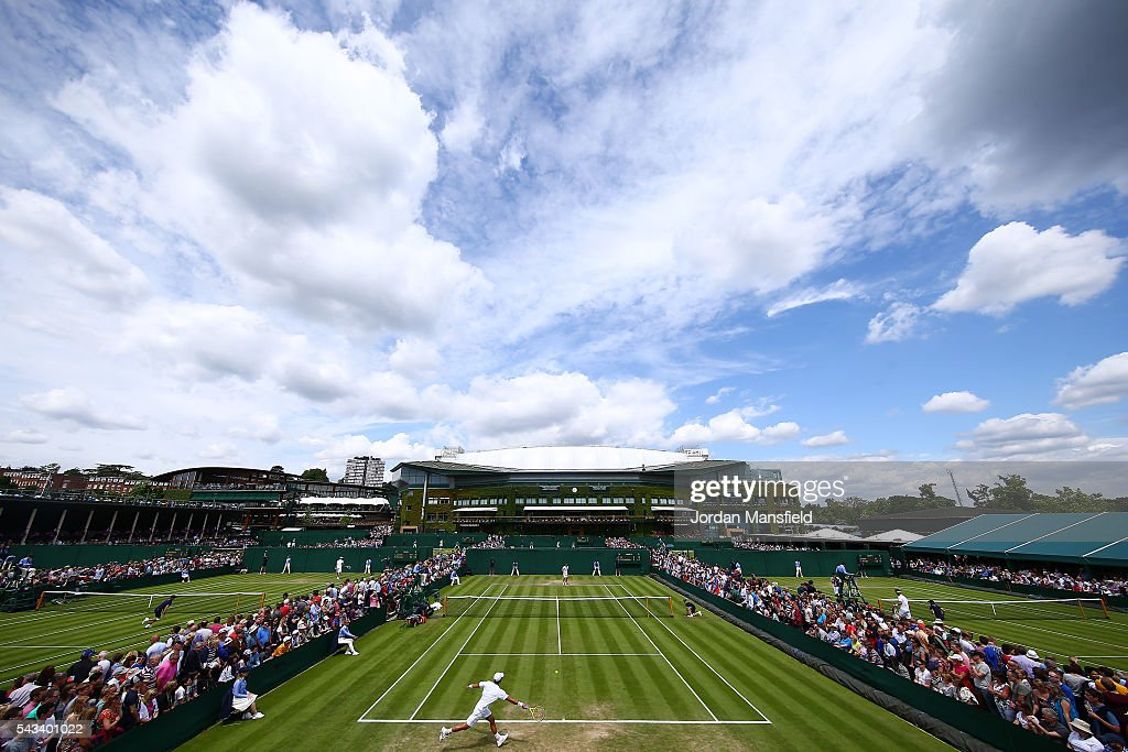 a general view of action on court 10 on day two of the Wimbledon Lawn Tennis Championships at the All England Lawn Tennis and Croquet Club on June 28, 2016 in London, England.