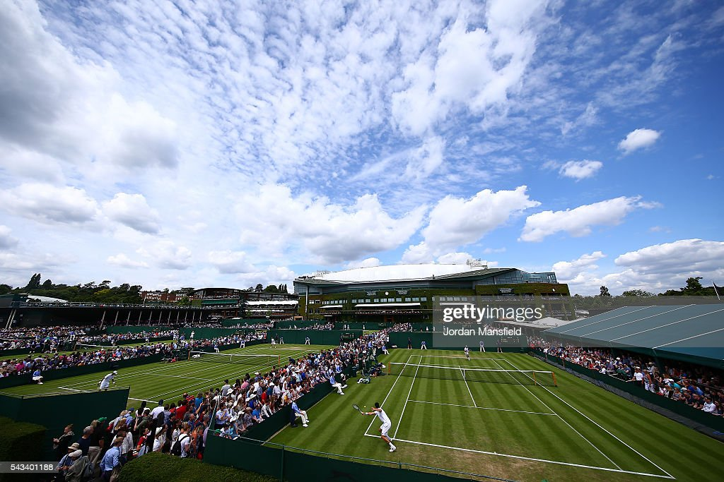 a general view of action on court 11 on day two of the Wimbledon Lawn Tennis Championships at the All England Lawn Tennis and Croquet Club on June 28, 2016 in London, England.