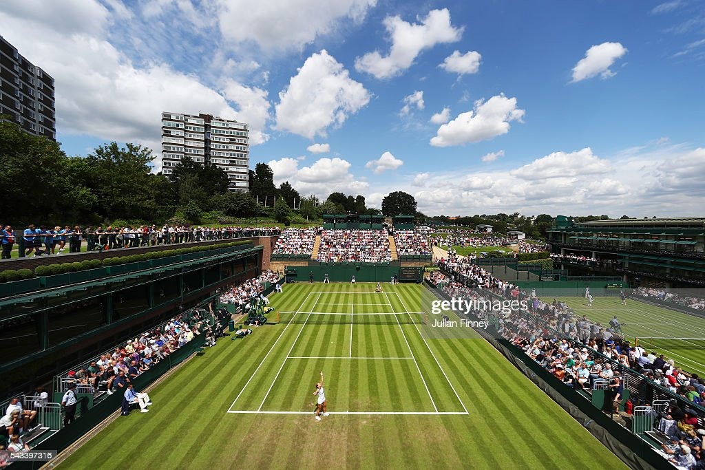 a general view of supporters watching on as Dominika Cibulkova of Slovakia is in action in the Ladies Singles first round match against Mirjana Lucic-Baroni of Croatia on day two of the Wimbledon Lawn Tennis Championships at the All England Lawn Tennis and Croquet Club on June 28, 2016 in London, England.