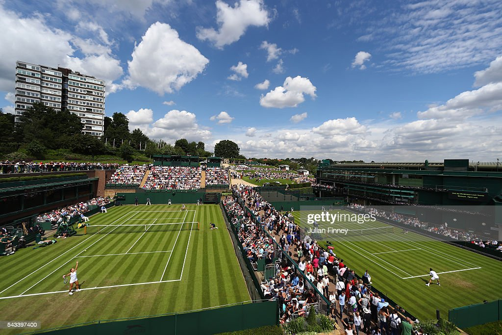 a general view of supporters watching on on day two of the Wimbledon Lawn Tennis Championships at the All England Lawn Tennis and Croquet Club on June 28, 2016 in London, England.