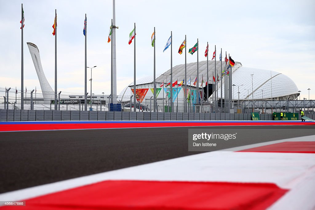 a general view of the track backdropped by the Olympic Cauldron and Fisht Olympic Stadium during previews ahead of the Russian Formula One Grand Prix...