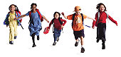 a group of kids with backpacks run forward as if just getting out of school