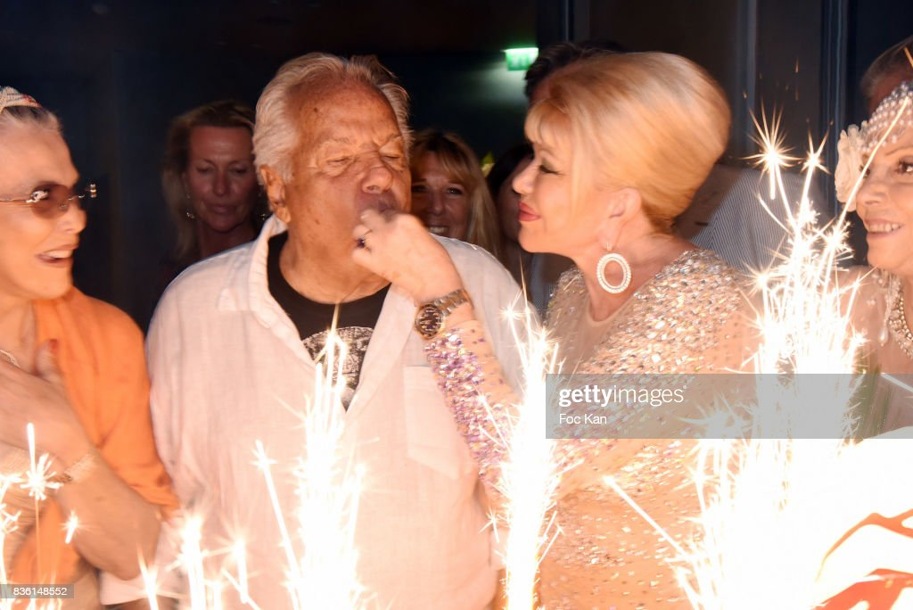 a guest, Massimo Gargia and Ivana Trump attend the Massimo Birthday Party at Hotel de Paris As Part of Saint-Tropez Party On French Riviera on August 20, 2017 in Saint-Tropez, France.