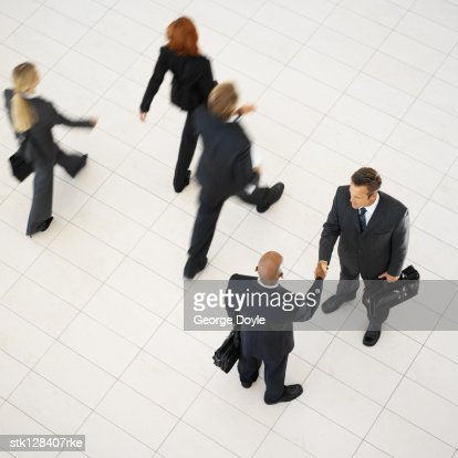 a high angle view of business executives : Stock Photo