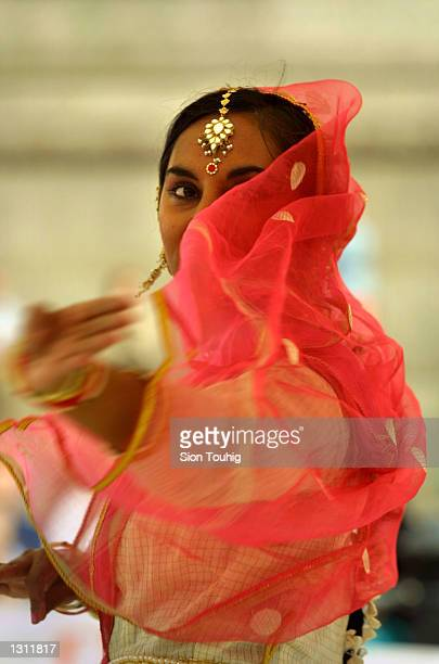 a Kathak Indian dancer performs at a World Dance Week event May 30 2001 in Trafalgar Square in London The event is to raise funds for CARE a UK...