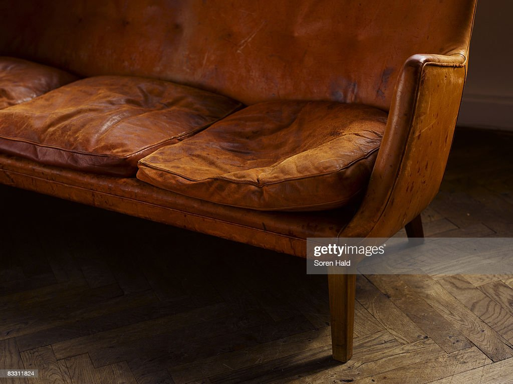 a leather sofa with imprint on the cushion : Stock Photo