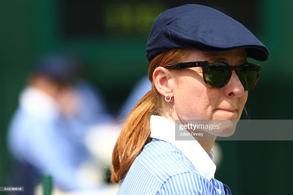 a line judge looks on, on day one of the Wimbledon Lawn Tennis Championships at the All England Lawn Tennis and Croquet Club on June 27th, 2016 in London, England.
