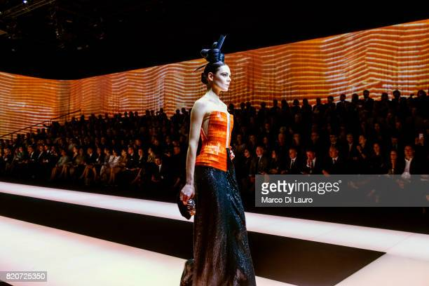 a model is seen on the catwalk during the fashion show at Armani Theatre April 30 2015 in Milan Italy In 1975 Giorgio Armani launch his first...
