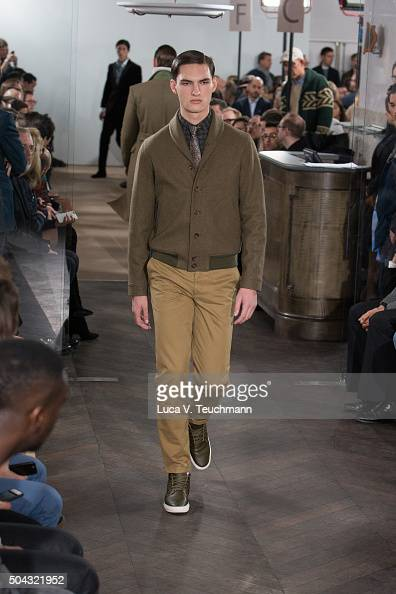 a model walks the runway at the Richard James show during The London Collections Men AW16 at on January 10 2016 in London England