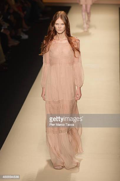 a model walks the runway during the Alberta Ferretti show as part of Milan Fashion Week Womenswear Spring/Summer 2015 on September 17 2014 in Milan...