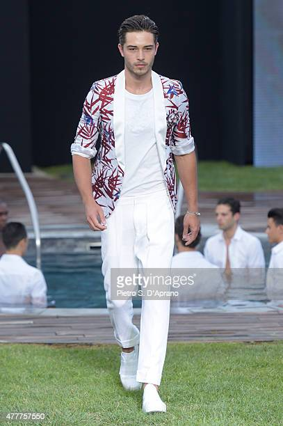 a model walks the runway during the Dirk Bikkembergs fashion show as part of Milan Men's Fashion Week Spring/Summer 2016 on June 19 2015 in Milan...