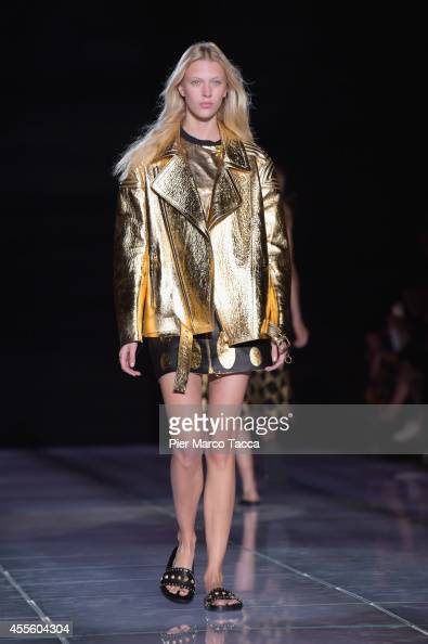 a model walks the runway during the Fausto Puglisi show as part of Milan Fashion Week Womenswear Spring/Summer 2015 on September 17 2014 in Milan...