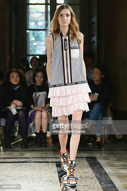 a model walks the runway during the Fay show as part of Milan Fashion Week Womenswear Spring/Summer 2015 on September 17 2014 in Milan Italy