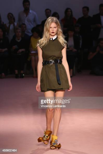 a model walks the runway during the N°21 Runway show as part of Milan Fashion Week Womenswear Spring/Summer 2015 on September 17 2014 in Milan Italy