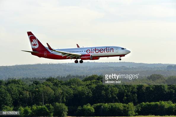 a passenger plane of AirBerlin airberlin airlines on landing at the airport of CologneBonn