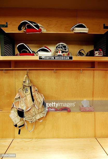 a photo showing the locker of goaltender Martin Brodeur of the New Jersey Devils after becoming the winningest goaltender in history with 552 wins...