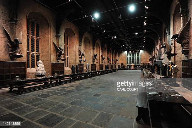 AURIOL a picture shows a general view of the Great Hall during a preview of the Warner Bros Harry Potter studio tour 'The Making of Harry Potter' in...