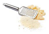 a piece of italian Parmesan and grated cheese on white background