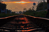 a railway in sunset