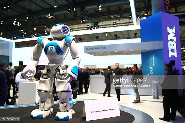 a robot named 'Watson' sits on display at the IBM pavillon during day four of the Mobile World Congress at the Fira Gran Via complex in Barcelona...