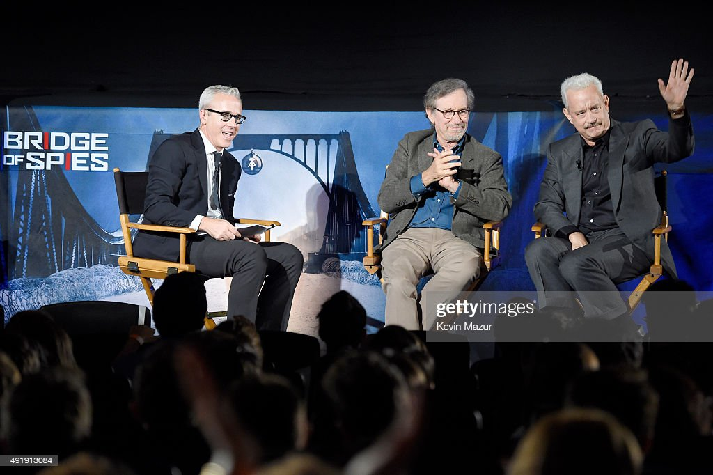 BRIDGE OF SPIES THE EXCHANGE a satellite QA conversation with Steven Spielberg Tom Hanks moderated by Jess Cagle on October 8 2015 in New York City
