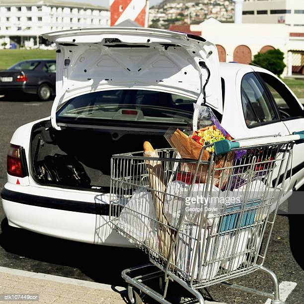a shopping trolley next to the boot of car