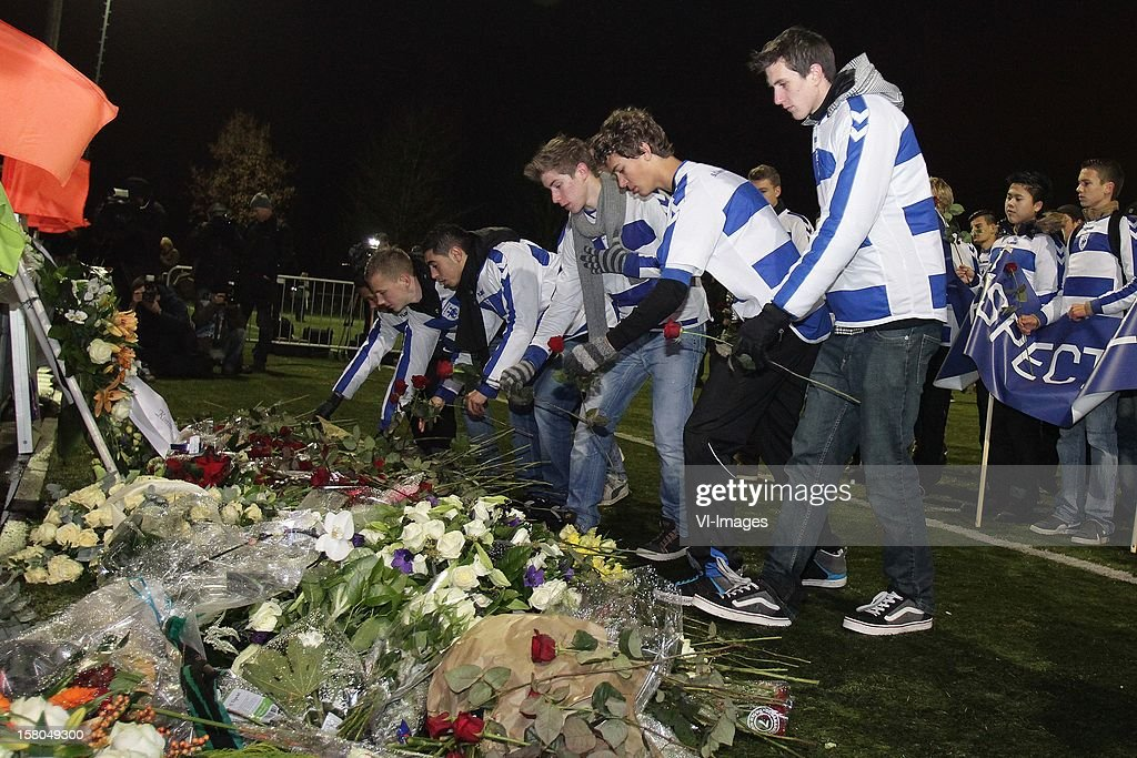a silent march to mourn the death of linesman Richard Nieuwenhuizen of Buitenboys on December 9, 2012 at Almere, Netherlands.
