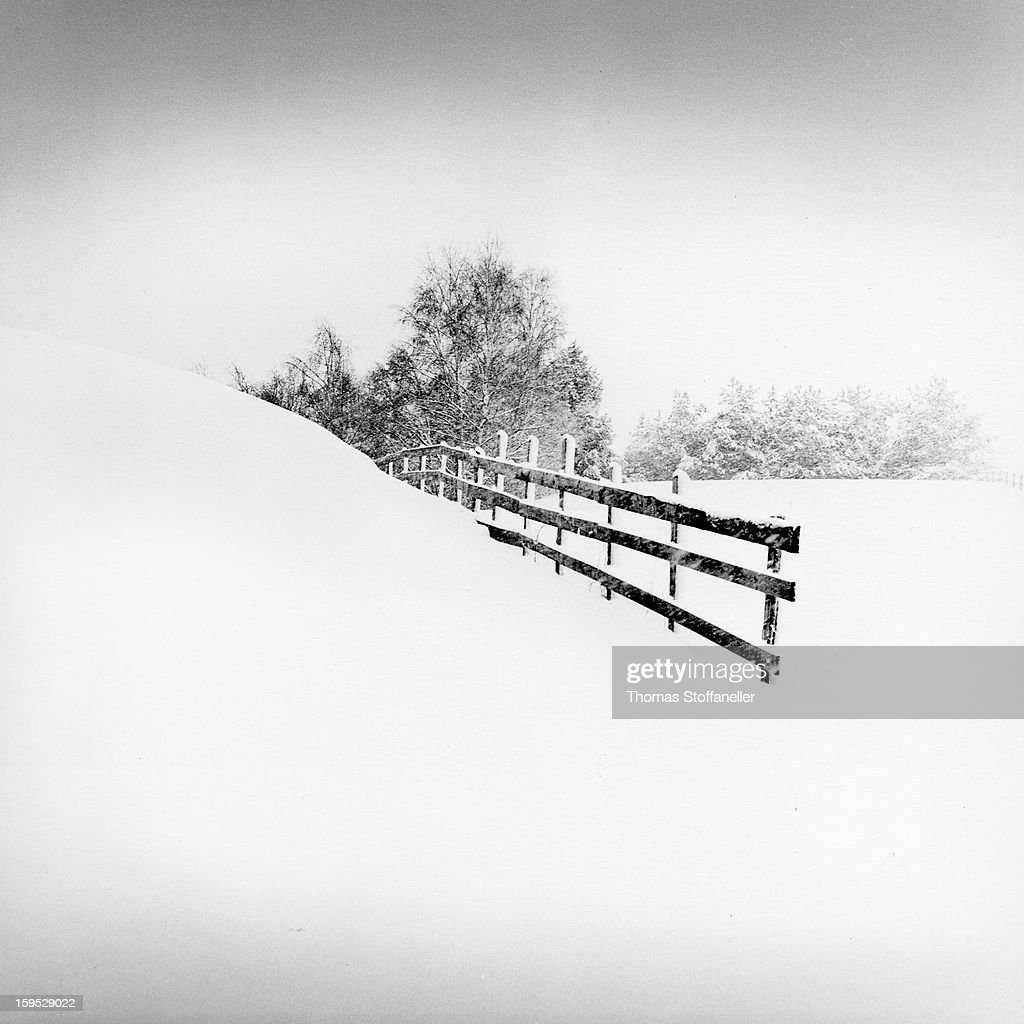 CONTENT] a snowy day in the countryside near Innsbruck. tech: Hasselblad 500CM, black/white film