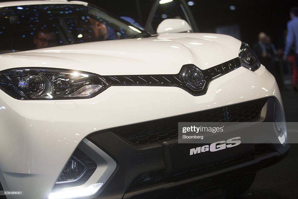 GS, a sports utility vehicle (SUV), manufactured by MG Motor UK Ltd. sits on display during its unveiling at the London Motor Show in London, U.K., on Thursday, May 5, 2016. MG Motor UK Ltd. manufactures convertible sport coupes with various options, features, and accessories to choose from. Photographer: Simon Dawson/Bloomberg via Getty Images