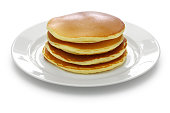 a stack of pancakes on a white dish isolated on white background