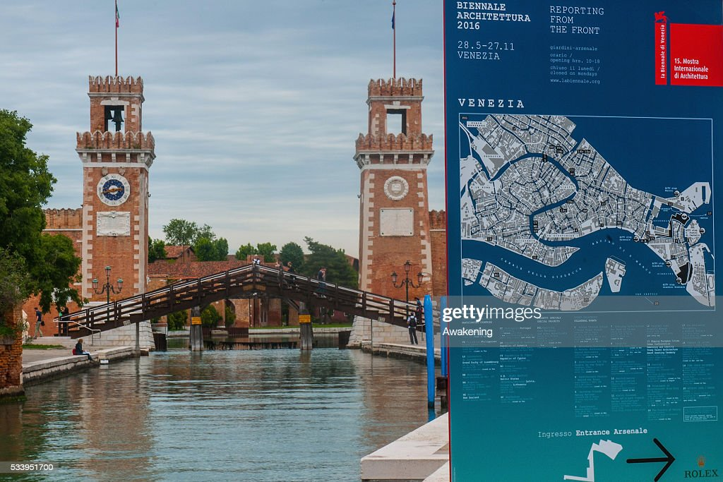 A a street sign in the Arsenale area announcing the 15th Architecture Venice Biennale, on May 24, 2016 in Venice, Italy. The 56th International Architecture Exhibition of La Biennale di Venezia will be open to the public from May 28, 2016 in Venice, Italy.
