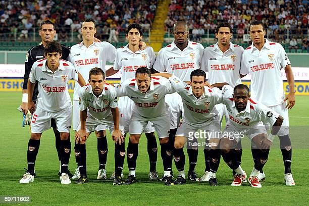 a team shot of Sevilla before match between Mallorca and Sevilla during 1st Win Win Palermo Trophy at Stadio Renzo Barbera on August 8 2009 in...
