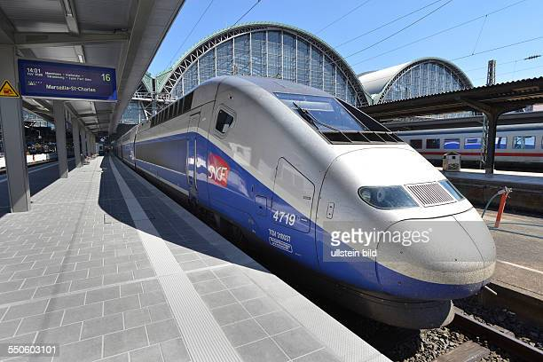 a TGV of the french Railway Company SNCF on the track systems of Frankfurt mainstation