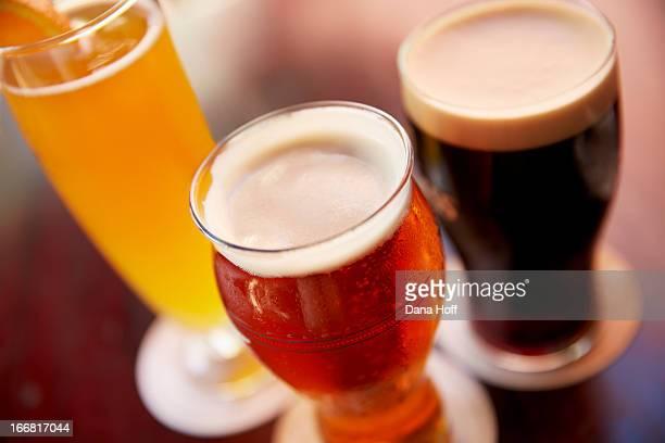 a variety of beers with dark beer, light beer, la