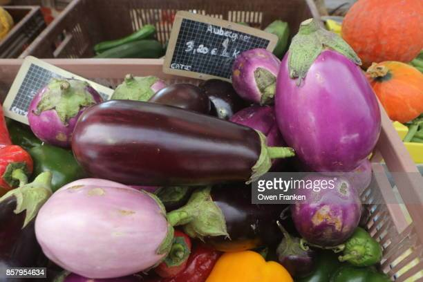 a variety of eggplants for sale at a bi-weekly market-Epernay, Champagne, France