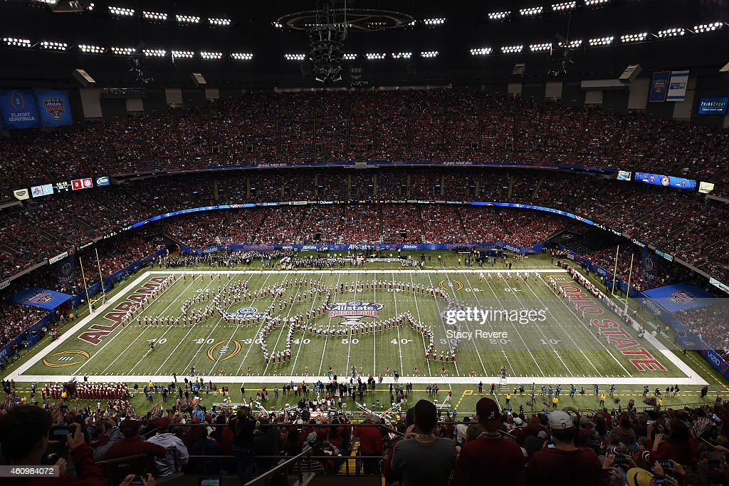 a view of the pregame for Alabama Crimson Tide marching band prior to the All State Sugar Bowl against the Ohio State Buckeyes at the MercedesBenz...