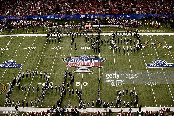 a view of the pregame Ohio State Buckeyes marching band prior to the All State Sugar Bowl against the Alabama Crimson Tide at the MercedesBenz...