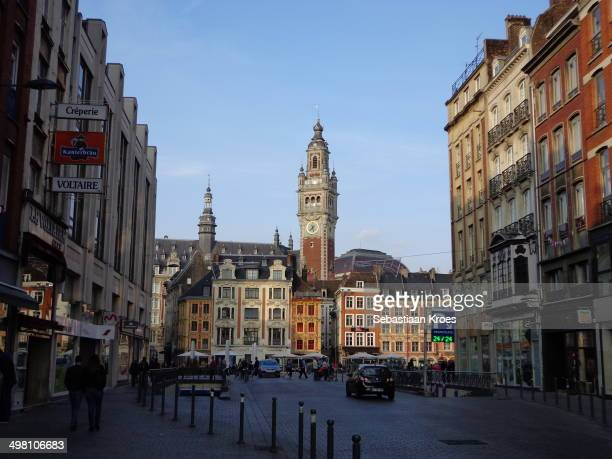 CONTENT] a view on the Grand place in Lille in France with many old buildings on a sunny day Including a old bell tower