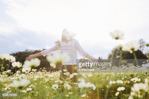 a woman at the flower field : Photo